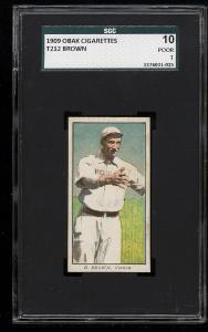 Image of: 1909 T212 Obak Brown SGC PR (PWCC)