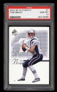 Image of: 2002 SP Authentic Tom Brady #1 PSA 10 GEM MINT (PWCC)