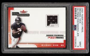 Image of: 2001 Fleer Hot Prospects Postmarks Michael Vick ROOKIE PATCH /1775 PSA 9 (PWCC)