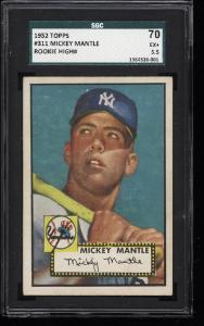 Image of: 1952 Topps Mickey Mantle #311 SGC 70/5.5 EX+ (PWCC)