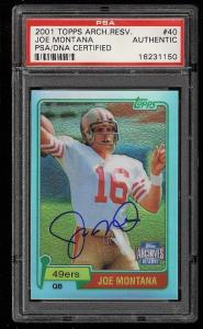 Image of: 2001 Topps Archives Reserve Joe Montana PSA/DNA AUTO #40 PSA AUTH (PWCC)
