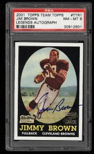 Image of: 2001 Topps Team Legends '58 Rookie Reprint Jim Brown AUTO PSA 8 NM-MT (PWCC)