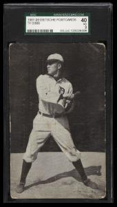 Image of: 1907 Dietsche Tigers Postcards Ty Cobb BATTING, ROOKIE RC SGC 40/3 VG (PWCC)