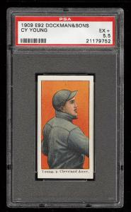 Image of: 1909 E92 Dockman & Sons Cy Young PSA 5.5 EX+ (PWCC)