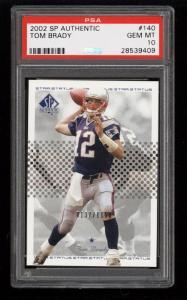 Image of: 2002 SP Authentic Tom Brady /1150 #140 PSA 10 GEM MINT (PWCC)
