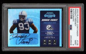 Image of: 2002 Playoff Contenders Dwight Freeney ROOKIE RC AUTO /410 #128 PSA 9 MT (PWCC)