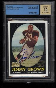 Image of: 2001 Topps Team Legends '58 Rookie Reprint Jim Brown AUTO #TTR1 BGS AUTH (PWCC)