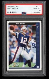 Image of: 2002 Score Football Tom Brady #137 PSA 10 GEM MINT (PWCC)
