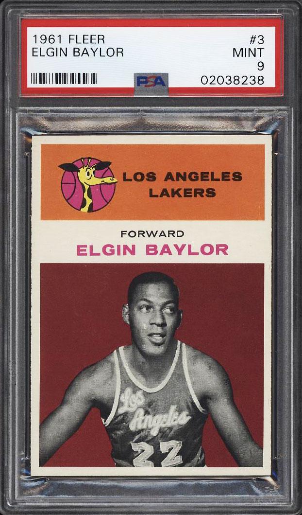 Image 1 of: 1961 Fleer Basketball Elgin Baylor ROOKIE RC #3 PSA 9 MINT (PWCC)