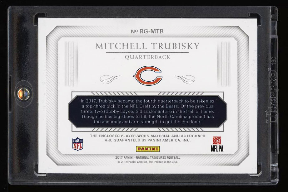 2017 National Treasures Mitchell Trubisky ROOKIE RC AUTO PATCH 25 PWCC EBay