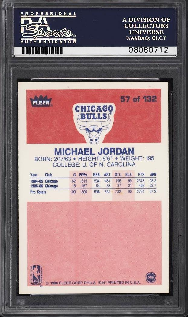Image 2 of: 1986 Fleer Basketball Michael Jordan ROOKIE RC #57 PSA 10 GEM MINT (PWCC)