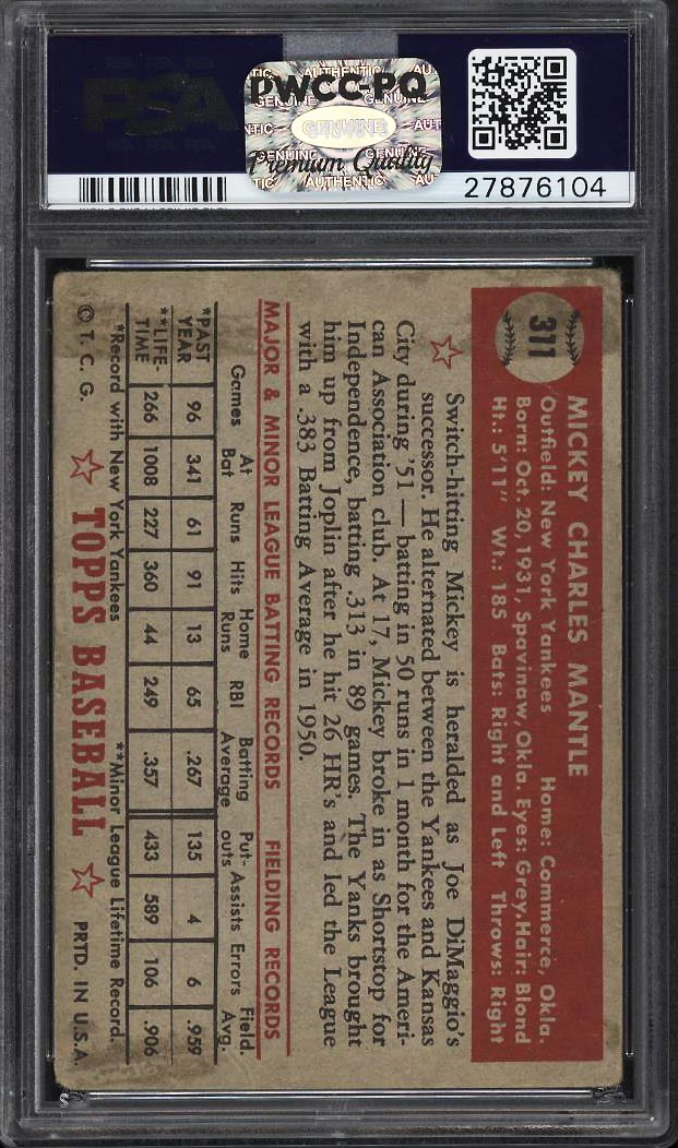 Image 2 of: 1952 Topps Mickey Mantle #311 PSA 1 PR (PWCC-PQ)