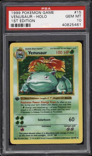 Image of: 1999 Pokemon Game 1st Edition Holo Venusaur #15 PSA 10 GEM MINT (PWCC)