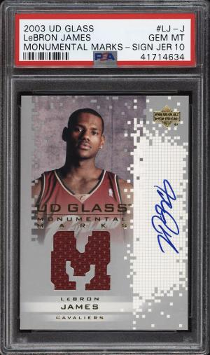 Image of: 2003 UD Glass Monumental Marks LeBron James ROOKIE RC AUTO PATCH PSA 10 (PWCC)