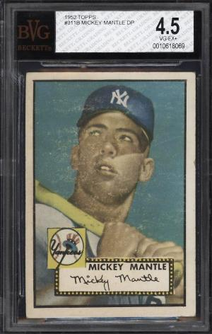 Image of: 1952 Topps Mickey Mantle #311 BVG 4.5 VGEX+ (PWCC)