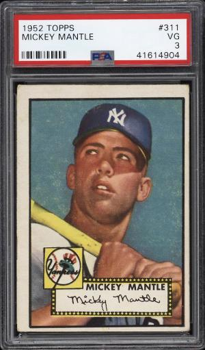 Image of: 1952 Topps Mickey Mantle #311 PSA 3 VG (PWCC)