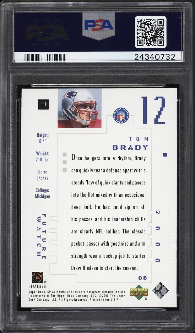 Image 2 of: 2000 SP Authentic Tom Brady ROOKIE RC /1250 #118 PSA 10 GEM MINT (PWCC)