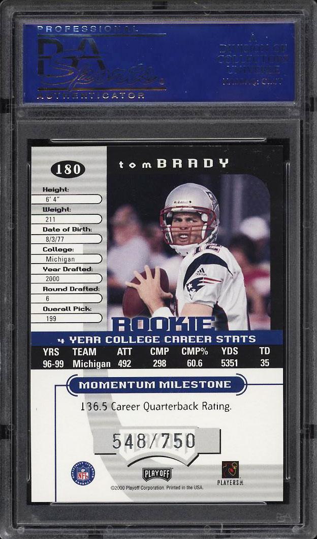 Image 2 of: 2000 Playoff Momentum Tom Brady ROOKIE RC /750 #180 PSA 10 GEM MINT (PWCC)