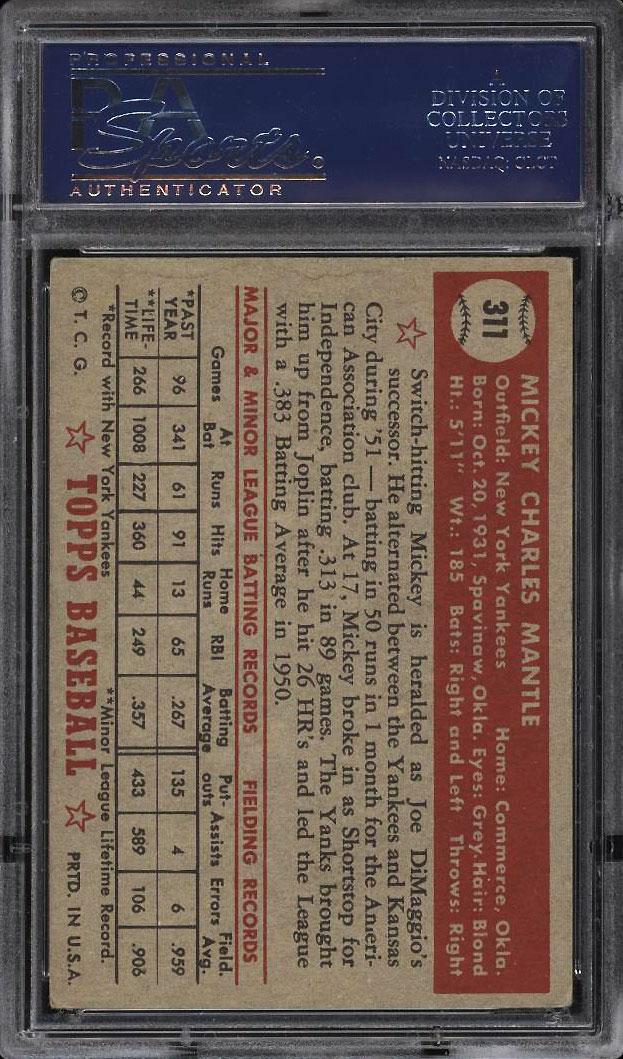 Image 2 of: 1952 Topps SETBREAK Mickey Mantle #311 PSA 4 VGEX (PWCC)