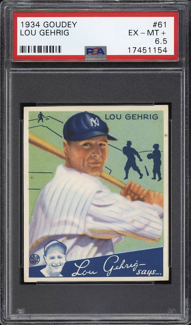 Image 1 of: 1934 Goudey Lou Gehrig #61 PSA 6.5 EXMT+ (PWCC-PQ)