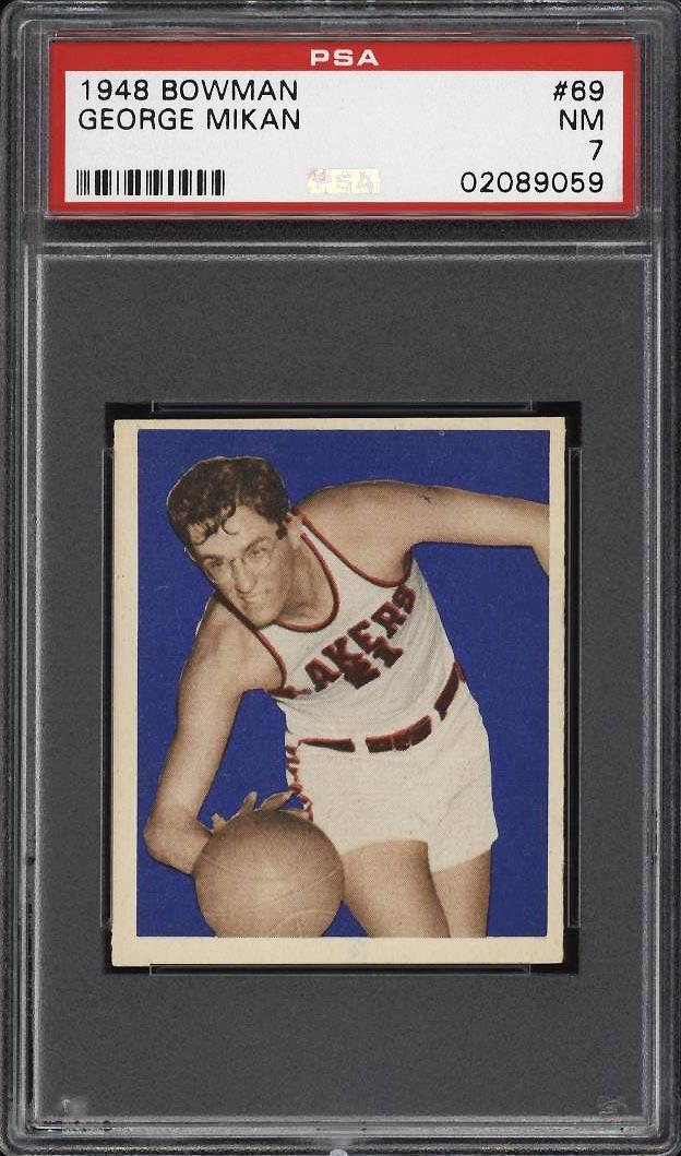 Image 1 of: 1948 Bowman Basketball George Mikan ROOKIE RC #69 PSA 7 NRMT (PWCC)