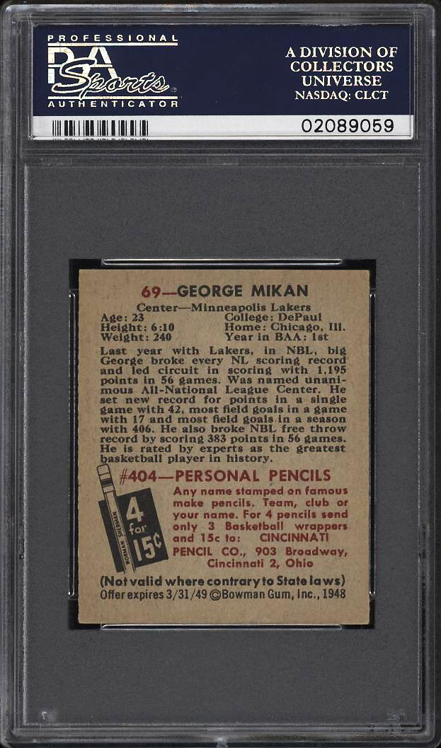 Image 2 of: 1948 Bowman Basketball George Mikan ROOKIE RC #69 PSA 7 NRMT (PWCC)
