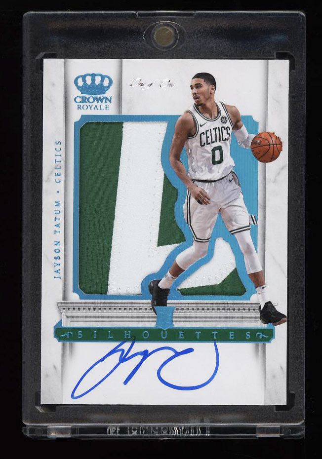 Image 1 of: 2017 Panini Crown Royale Silhouettes Jayson Tatum RC AUTO PATCH RPA 1/1 (PWCC)