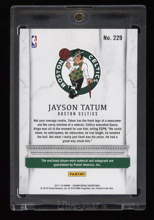 Image 2 of: 2017 Panini Crown Royale Silhouettes Jayson Tatum RC AUTO PATCH RPA 1/1 (PWCC)
