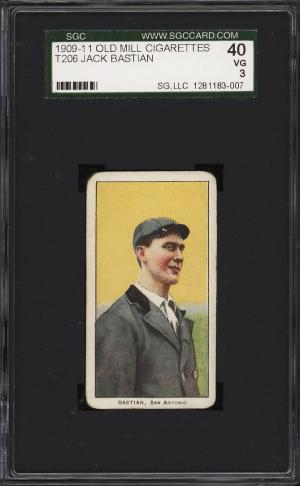 Image of: 1909-11 T206 Jack Bastian SOUTHERN LEAGUER, OLD MILL SGC 3 VG (PWCC)
