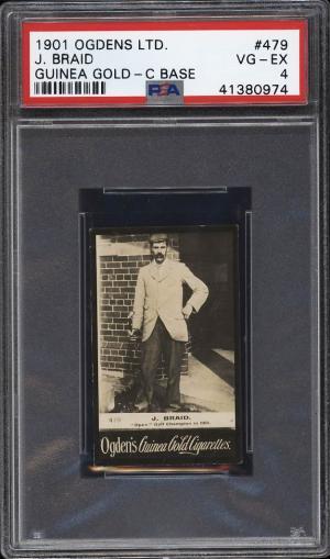 Image of: 1901 Ogden's Guinea Gold C Base Golf James Braid #479 PSA 4 VGEX (PWCC)