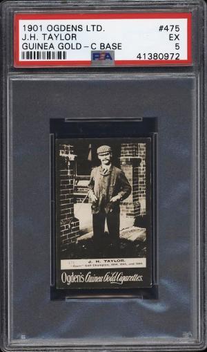 Image of: 1901 Ogden's Guinea Gold C Base Golf J.H. Taylor #475 PSA 5 EX (PWCC)