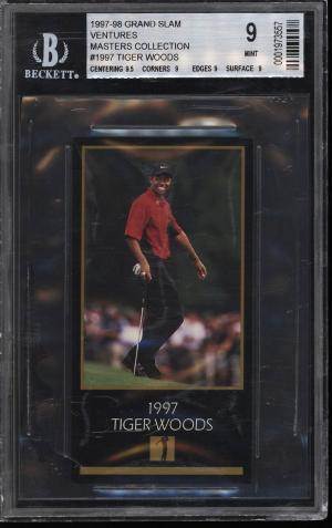 Image of: 1998 Champions Of Golf Masters Collection Tiger Woods ROOKIE RC BGS 9 MT (PWCC)