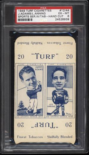 Image of: 1949 Turf Cigarettes Sports Series Golf James Adams Les Anning PSA 6 EXMT (PWCC)