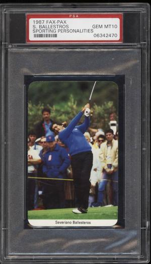Image of: 1987 Fax Pax Sporting Personalities Golf Severiano Ballesteros PSA 10 GEM (PWCC)