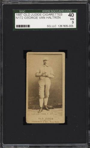 Image of: 1887 N172 Old Judge George Van Haltren HANDS CENTER SGC 3 VG (PWCC)