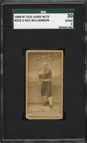Image of: 1887 N172 Old Judge Ned Williamson THROWING, CHICAGO'S SGC 2 GD (PWCC)