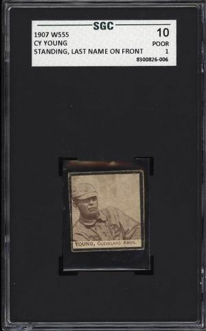 Image of: 1907 W555 Strip Card Cy Young STANDING, LAST NAME ON FRONT SGC 1 PR (PWCC)