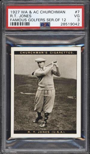 Image of: 1927 Churchman's Famous Golfers Large Bobby Jones #7 PSA 3 VG (PWCC)