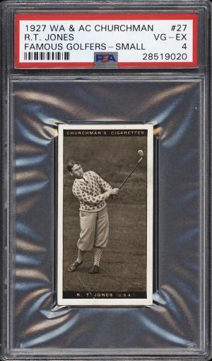 Image of: 1927 Churchman's Famous Golfers Small Bobby Jones #27 PSA 4 VGEX (PWCC)
