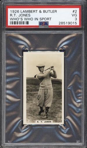 Image of: 1926 Lambert & Butler Who's Who Golf Bobby Jones ROOKIE RC #2 PSA 3 VG (PWCC)
