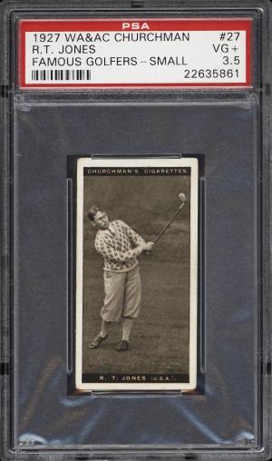 Image of: 1927 Churchman's Famous Golfers Small Bobby Jones #27 PSA 3.5 VG+ (PWCC)