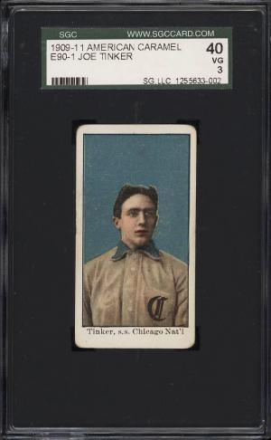 Image of: 1909 E90-1 American Caramel Joe Tinker SGC 3 VG (PWCC)