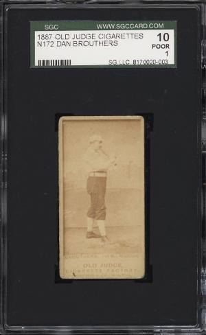 Image of: 1887 N172 Old Judge Dan Brouthers BAT OVER SHOULDER, LOOK RIGHT SGC 1 PR (PWCC)