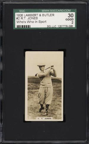 Image of: 1926 Lambert & Butler Who's Who Golf Bobby Jones ROOKIE RC #2 SGC 2 GD (PWCC)