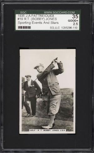 Image of: 1935 Pattreiouex Sporting Events & Stars Golf Bobby Jones #19 SGC 2.5 GD+ (PWCC)