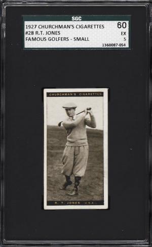 Image of: 1927 Churchman's Famous Golfers Small Bobby Jones #28 SGC 5 EX (PWCC)