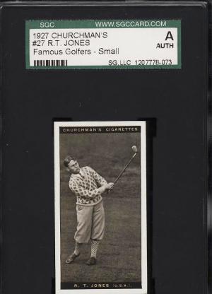 Image of: 1927 Churchman's Famous Golfers Small Bobby Jones #27 SGC Auth (PWCC)