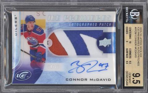 Image of: 2015-16 UD Ice Premieres Connor McDavid ROOKIE RC AUTO PATCH /10 BGS 9.5 (PWCC)