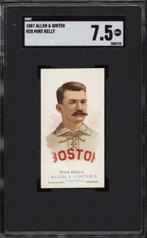 Image of: 1888 N28 Allen & Ginter Mike King Kelly SGC 7.5 NRMT+ (PWCC-PQ)