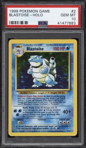 Image of: 1999 Pokemon Game Holo Blastoise #2 PSA 10 GEM MINT (PWCC)